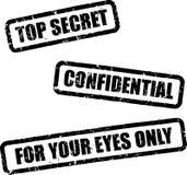 hemligheten stämplar överkanten Fotografering för Bildbyråer
