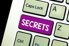 Hemligheter för ordhandstiltext Affärsidé för Kept som är okänd vid andra förtroligt privat hemligt Unrevealed arkivbild