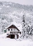 Hemlock Cabin. A snow covered cabin up in the mountain Stock Images