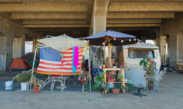 Hemlöst läger, Los Angeles, Kalifornien Arkivbilder