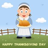 Hemmafru Happy Thanksgiving Card Arkivbilder