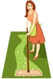 Hemmafru med en mop royaltyfri illustrationer