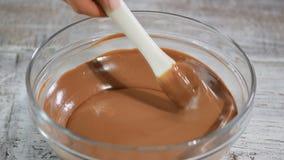 Hemmafrudanandehemmet gjorde choklad Viftar blandande ingredienser för kvinna förbi för att laga mat bagerit för chokladkakan på  arkivfilmer