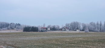 Hemman och snöig träd, Litauen Royaltyfri Bild