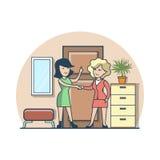 Hemmastatt hall för linjär plan kvinnahandskakning vektor illustrationer