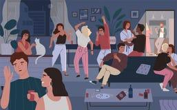 Hemmastatt parti för lyckliga vänner Lägenhet eller vardagsrum som är fulla av folk som har gyckel, att dansa och samtal Unga gul royaltyfri illustrationer