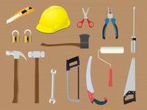 Hemmet bearbetar diy toolboxrenoveringkonstruktion vektor illustrationer
