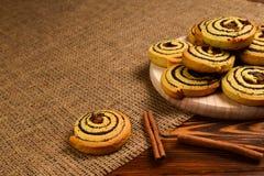 Hemmet gjorde bakade kakor med russin och vallmofr?n Utrymme f?r text eller design fotografering för bildbyråer