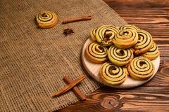 Hemmet gjorde bakade kakor med russin och vallmofr?n Utrymme f?r text eller design royaltyfri bild