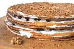 Hemmet gjorde kakan som dekorerades med muttrar, russin och vit för att laga mat med grädde Arkivbild