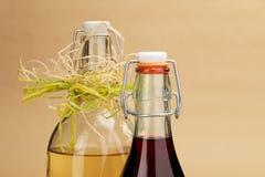 Hemmet gjorde röda och vita viner i klassiska flaskor Royaltyfria Bilder