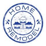 Hemmet omdanar stämpeln Logo för husreparationsföretag på grungebakgrund Arkivfoto