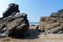 Hemmick strand Cornwall Arkivfoto