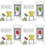 Hemmiljö hall Designsymboler, fjärilsstol sömlöst p Arkivbilder
