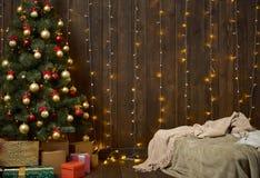 Hemmiljö med det träväggen, säng, julträdet och ljus, royaltyfri bild