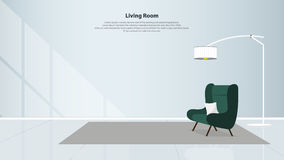 Hemmiljödesign med möblemang Modern vardagsrum med den gröna fåtöljen vektor Royaltyfri Fotografi