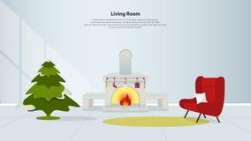 Hemmiljödesign med möblemang Vardagsrum med spisen, den röda fåtöljen och julgranen i plan design Royaltyfri Fotografi