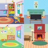 Hemmiljöuppsättning Barnsovruminre Vardagsrum med spis Royaltyfria Bilder