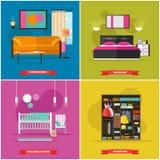 Hemmiljövektorillustration i plan stil Inhysa designen med möblemang, säng, soffan, garderob royaltyfri illustrationer