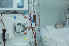 Hemodialysis apparatus connected to the patient in ICU Royalty Free Stock Image