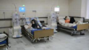 Hemodialysis machines with tubing. Blur view