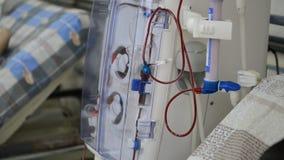 Hemodialysis machines with tubing. Hemodialysis machines with tubing and installations. Health care, blood purification, kidney failure, transplantation stock footage