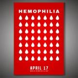 Hemophilia Day Poster. April 17 - World hemophlia day. Vertical poster, print, brochure or leaflet creative design. Editable vector illustration in red and white stock illustration