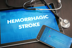 Hemorrhagic stroke (heart disorder) diagnosis medical concept on. Tablet screen with stethoscope stock photos