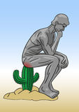 Hemorrhoid. Hemorrhoids is the same as sitting on a cactus Royalty Free Stock Image