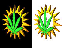 Hemp. Simple sun and hemp symbol on black and white background - 3d illustration vector illustration