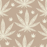 Hemp Cannabis Leaf seamless pattern. Royalty Free Stock Photo