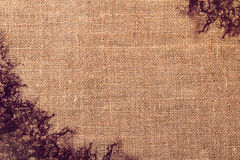 Hemp cloth stained with ink Royalty Free Stock Images