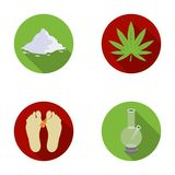Hemp, cocaine, bong, corpse in the morgue. Drugs set collection icons in flat style vector symbol stock illustration web Stock Image