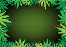 Hemp dark background. The green hemp, cannabis leaf dark framework background royalty free illustration