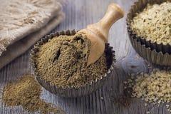 Hemp flour and seeds stock image