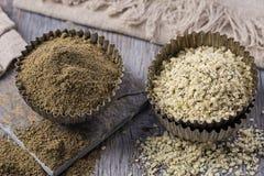 Hemp flour and seeds Royalty Free Stock Photos