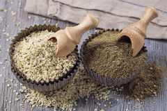 Hemp flour and seeds stock image