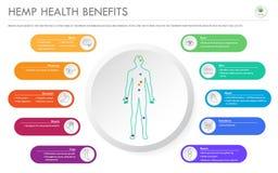 Free Hemp Health Benefits Horizontal Business Infographic Royalty Free Stock Photo - 157575445
