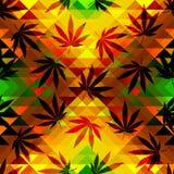 Hemp leaves. Seamless pattern of the hemp leaves on geometric background royalty free illustration