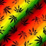 Hemp leaves. Seamless pattern of the hemp leaves on geometric background vector illustration