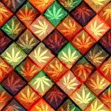 Hemp leaves. Seamless pattern of the hemp leaves on geometric background stock illustration