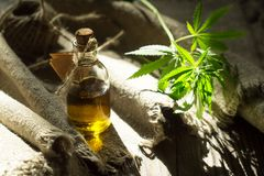 Hemp oil, canvas and threads stock photography