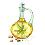 Hemp oil. Hand-drawn watercolor illustration stock illustration