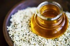 Hemp oil with hemp seeds royalty free stock image