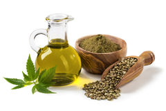 Hemp oil n a glass jar Stock Photography