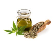 Hemp oil n a glass jar royalty free stock photo