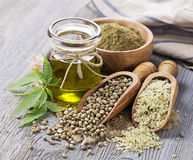 Hemp oil n a glass jar royalty free stock photos
