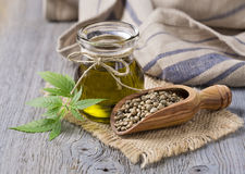 Hemp oil n a glass jar Royalty Free Stock Images
