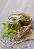 Hemp oil n a glass jar Royalty Free Stock Image