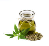 Hemp oil n a glass jar Stock Image